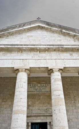 Greek temple alike, orthodox church at Corfu island photo