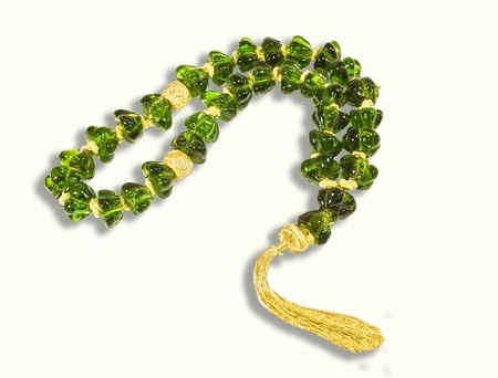 chaplet: Decorative green crystal chaplet isolated  Stock Photo