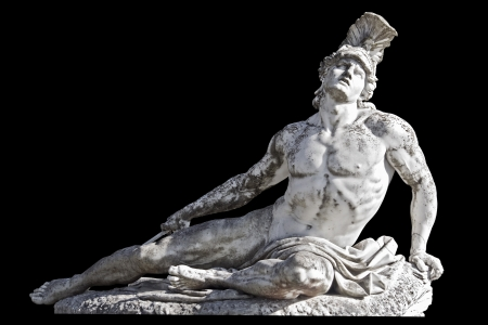 Arrow wounded Achilles statue Achilleion palace, Corfu island, Greece