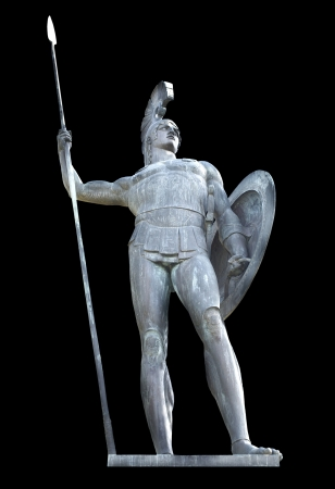 Greek mythical Achilles statue isolated Stock Photo
