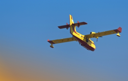 amphibious: Fire fighting aircraft flying on its mission