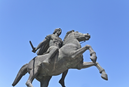 Statue of Alexander the Great at Thessaloniki in Greece photo