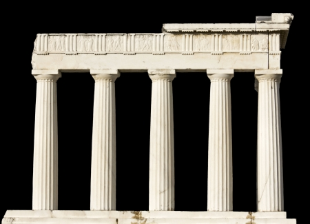 Ancient Greek temple isolated on black  photo
