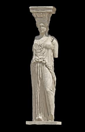 caryatids: Greek ancient statue of a Caryatid Stock Photo