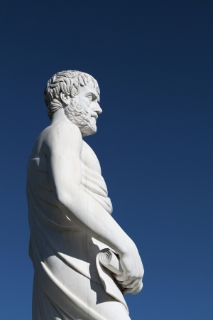 Aristotle statue located at Stageira of Greece photo