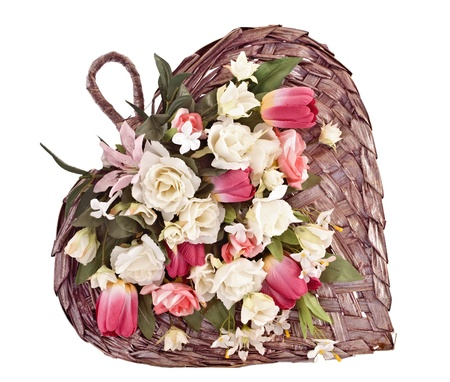 Decorative heart shaped wick basket photo