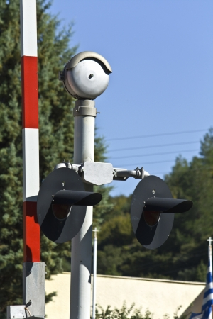 Railway station and traffic control signs detail image Stock Photo - 15905149