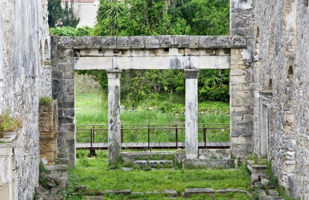 templars: Old christian basilica church remains at Corfu island