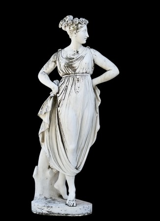 greek gods: Statue showing a Greek mythical muse  Stock Photo