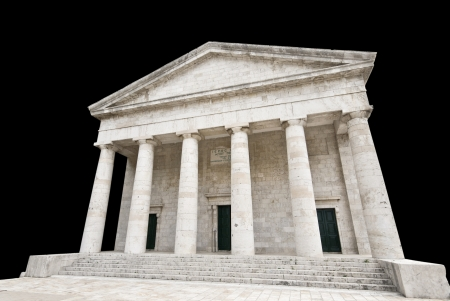Ancient Greek temple isolated photo