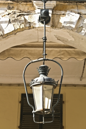 ionio: Old traditional buildings with lanterns at Corfu