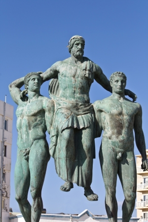 rhodes: Classic ancient Greek statue at Rhodes island, Greece Stock Photo