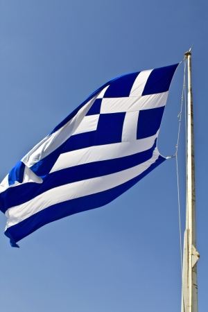flaunt: The Greek flag at the Acropolis of Athens, Greece  Stock Photo