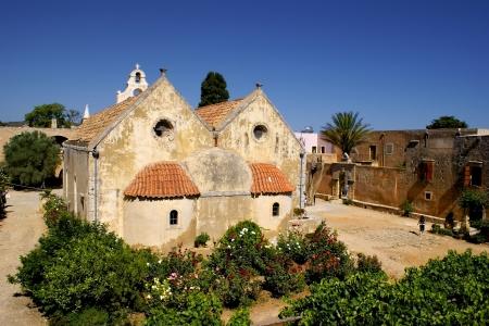 arkady: Moni Arkadiou monastery at Crete, Greece  Stock Photo