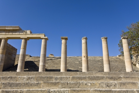 rhodes: Lindos acropolis at Rhodes island, Greece Stock Photo