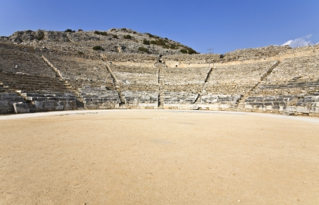 ruins is ancient: Theater at Filipois archaeological site in Greece  Stock Photo