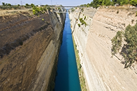 arkadia: Canal water passage of Corinth in Europe, Greece  Stock Photo