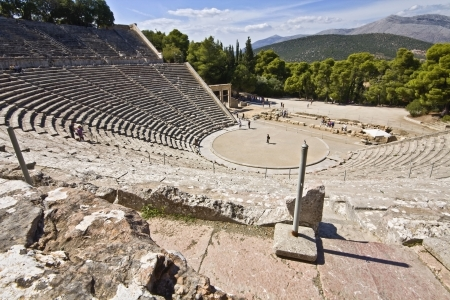 peloponnesus: Ancient amphitheater of Epidaurus in Greece  Stock Photo