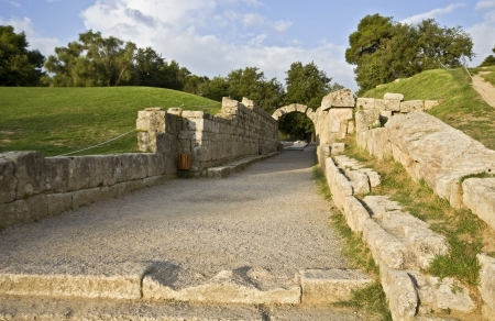arkadia: Main entrance at ancient Olympia stadium in Greece  Stock Photo