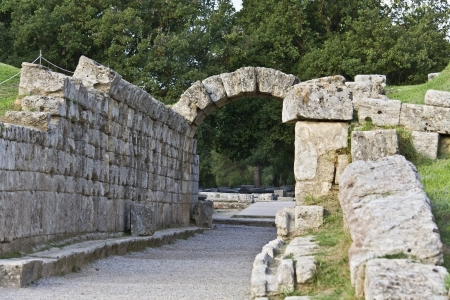 arkadia: Ancient Olympia stadium in Greece Stock Photo