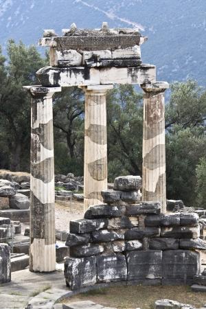 delfi: Temple of Athena pronoia at ancient Delphoi, Greece Stock Photo