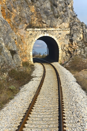 mountain pass: Railroad across a mountain at north Greece