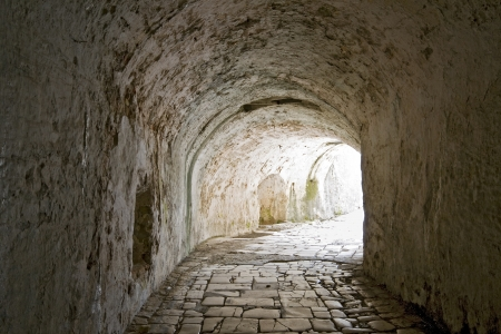 Tunnel passage at Corfu Old Fortress in Greece