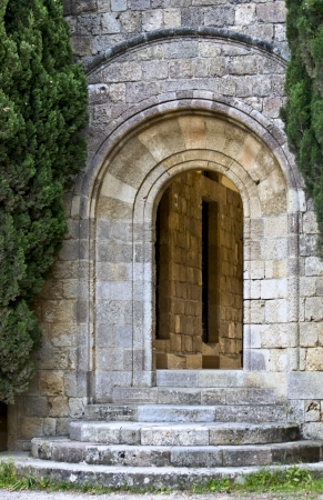 Old medieval door at Filerimos, Rhodes, Greece Stock Photo