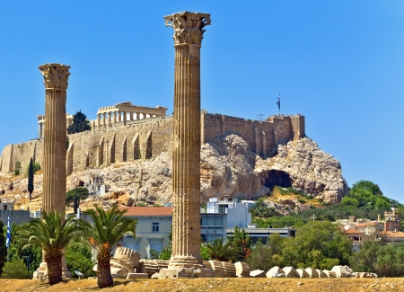 athena: Temple of the Olympian Zeus in Athens, Greece Stock Photo