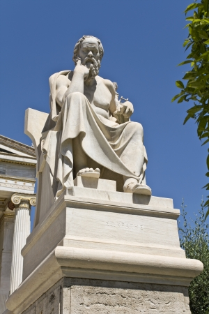 scholarly: Socrates statue at the Academy of Athens in Greece