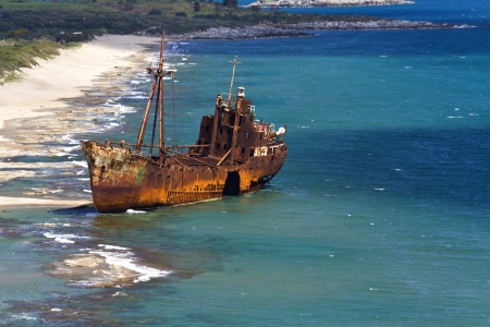 peloponnise: Dimitrios shipwreck at Gytheio in Greece  Stock Photo