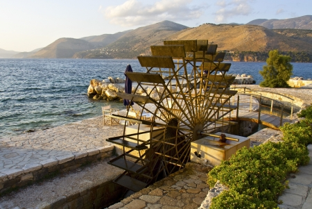 Traditional water mill at Kefalonia island in Greece Stock Photo