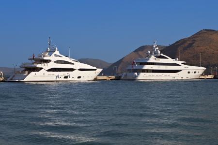 kefallonia: Yachts anchored at Kefalonia island in Greece Stock Photo