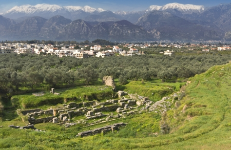 Ancient and modern Sparta historical city in Greece photo