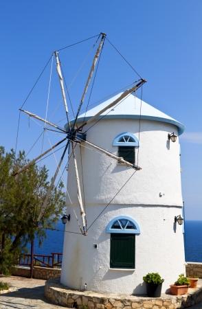 traditional windmill: Traditional windmill at Zakynthos island in Greece  Stock Photo