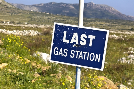 outlaws: Road sign full of shotgun holes found at Mani, Greece  Stock Photo