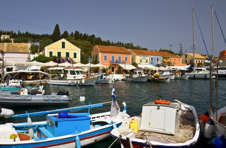 kefallinia: Fiscardo village at Kefalonia island in Greece Stock Photo