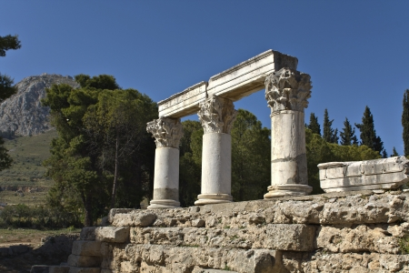 arkadia: Ancient Corinth site at Peloponnesus, Greece  Stock Photo