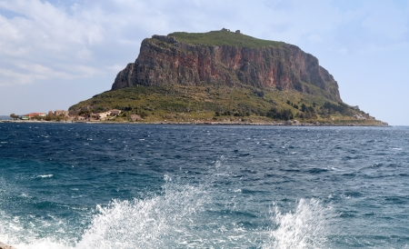 peloponnise: The rock and fortress of Monemvasia in Greece