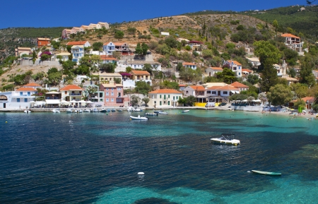Village of Assos at Kefalonia island in Greece photo