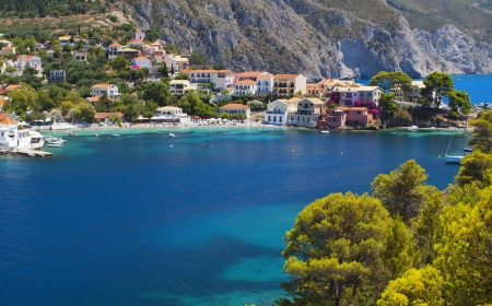 Village of Assos at Kefalonia island in Greece