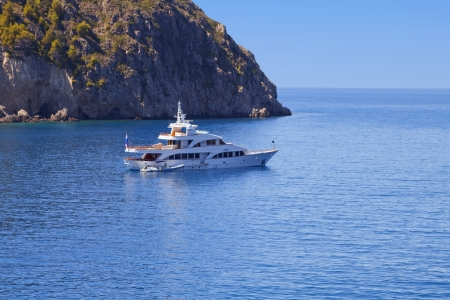 Yacht anchorage at Assos of Kefalonia island in Greece Stock Photo