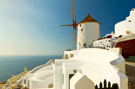 kyklades: Santorini island at Cyclades, Greece Stock Photo