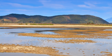 Large swamp area near Mesologgi city in Greece Stok Fotoğraf