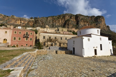 peloponnise: Medieval fortified village of Monemvasia in Greece Stock Photo