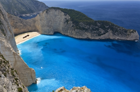 Navagio beach at Zakynthos island in Greece  photo