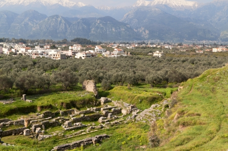 peloponnise: Ancient theater and city of Sparta in Greece