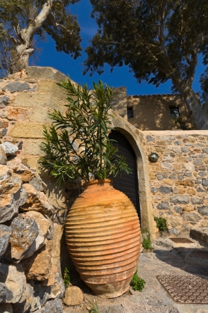 laconia: Traditional Greek house at Monemvasia in Greece