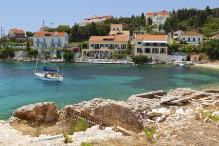 Fiscardo village at Kefalonia island in Greece photo