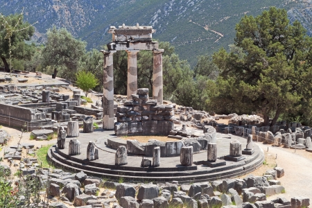 delfi: Temple of Athena pronoia at ancient Delphoi in Greece Stock Photo